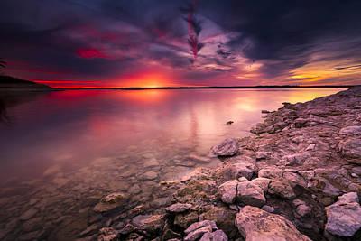Benbrook Lake Sunset Poster by Dean Fikar