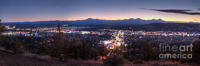Bend From Pilot Butte In Evening Poster