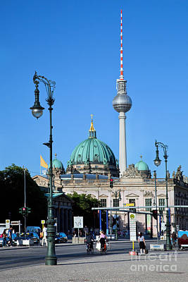 Berlin Cathedral And Tv Tower Poster by Michal Bednarek