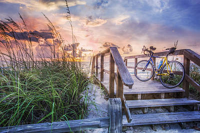 Bicycle At The Beach Poster