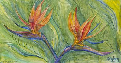 Poster featuring the painting Birds Of Paradise by Cathy Long