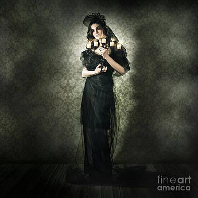 Black Fashion Model In Dark Vintage Haunted House Poster