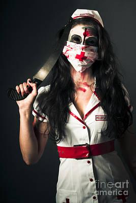 Bleeding Psychotic Medic Woman With Amputation Saw Poster