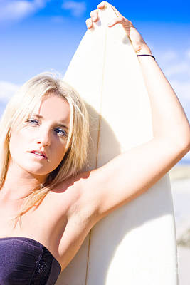 Blond Sports Girl Holding Surfboard Poster by Jorgo Photography - Wall Art Gallery
