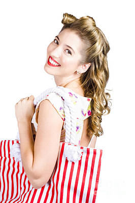 Blonde Style Girl With Shopping Bags On White Poster