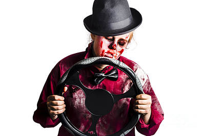 Bloody Woman With Steering Wheel Poster