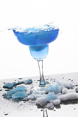 Blue Frozen Iceberg Margarita Splash Poster by Erin Cadigan