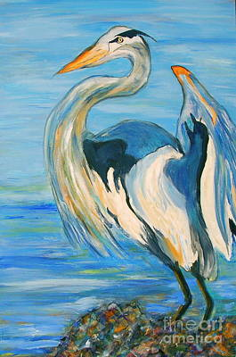 Blue Heron II Poster by Ellen Anthony