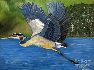 Poster featuring the painting Blue Heron In Flight by Brenda Brown