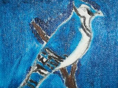Blue Jay Oil Painting Poster