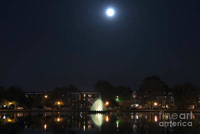 Poster featuring the digital art Blue Moon Over Fountain Lake by Kelvin Booker