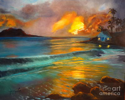 Poster featuring the painting Blue Sunset by Jenny Lee