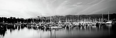 Boats Moored In Harbor At Sunset, Santa Poster by Panoramic Images