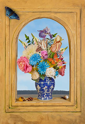 Poster featuring the photograph Bosschaert - Flower Bouquet In Chinese Jar by Levin Rodriguez