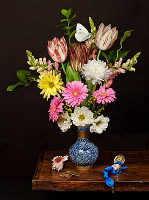 Poster featuring the photograph Bosschaert - Flower Bouquet In Chinese Pot by Levin Rodriguez