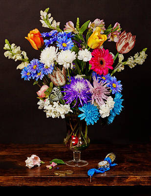Poster featuring the photograph Bosschaert - Flowers In Glass Vase by Levin Rodriguez