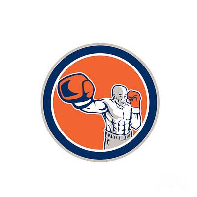 Boxer Boxing Punching Jabbing Circle Retro Poster