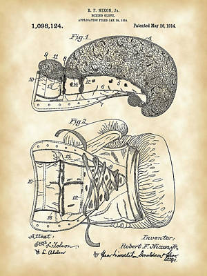 Boxing Glove Patent 1914 - Vintage Poster by Stephen Younts