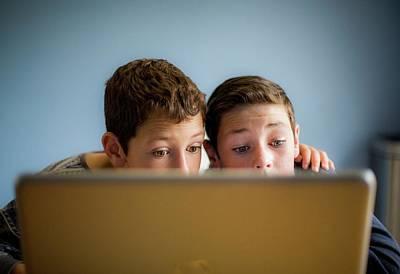 Boys Using Laptop Poster