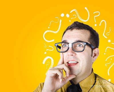 Brainy Man Puzzle Solving On Question Background Poster