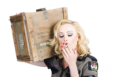 Brave Army Girl Holding Explosive Small Arms Poster by Jorgo Photography - Wall Art Gallery