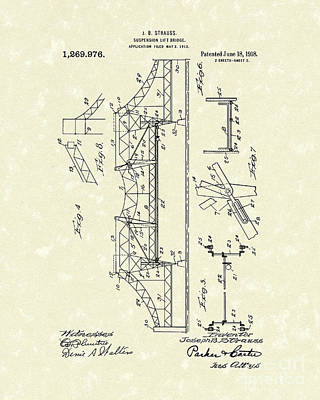 Bridge 1918 Patent Art Poster
