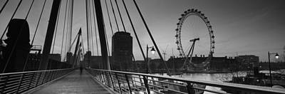 Bridge Across A River With A Ferris Poster by Panoramic Images