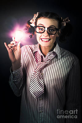 Bright And Nerdy Business Woman With Smart Idea Poster