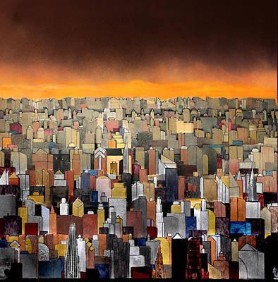 Bright Yellow Sunset Poster by Robert Handler