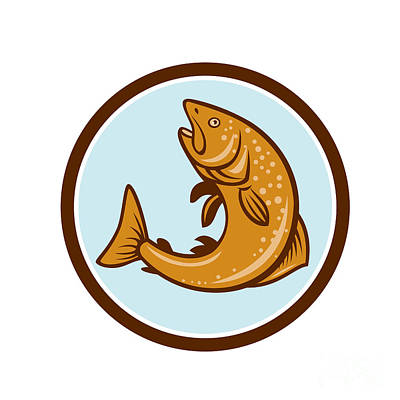 Brown Trout Jumping Circle Cartoon Poster by Aloysius Patrimonio
