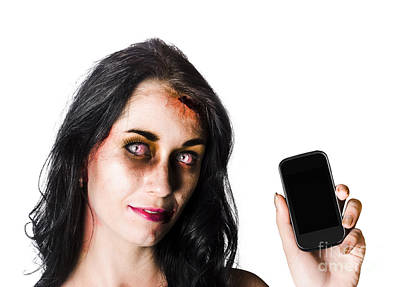 Bruised Zombie Woman With Cell Phone Poster
