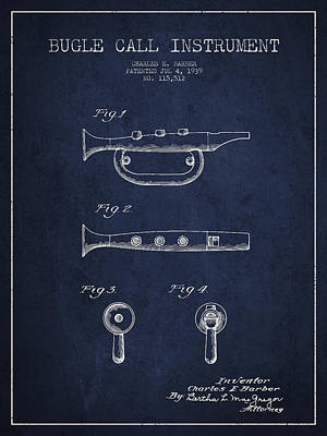 Bugle Call Instrument Patent Drawing From 1939 - Navy Blue Poster by Aged Pixel