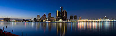 Buildings In A City Lit Up At Dusk Poster by Panoramic Images