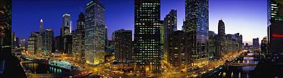 Buildings Lit Up At Dusk, Chicago Poster