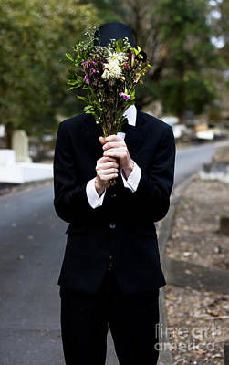 Burying Face In Funeral Flowers Poster