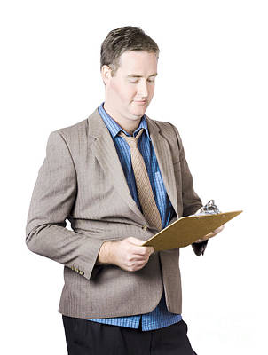 Business Man Holding Audit Clip Board Poster by Jorgo Photography - Wall Art Gallery