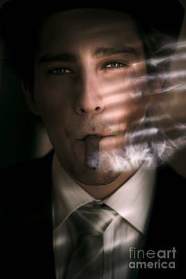 Business Man Smoking Cigar In Victory And Success Poster by Jorgo Photography - Wall Art Gallery