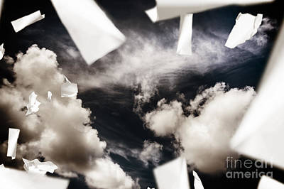 Business Papers Falling In The Sky Poster