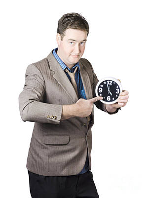 Business Person Pointing To Time On Office Clock Poster