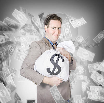Business Person With Money Sack. Financial Success Poster by Jorgo Photography - Wall Art Gallery