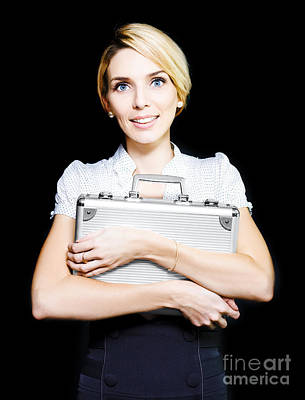 Business Woman Clutching A Metal Briefcase Poster