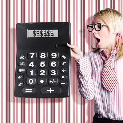 Business Woman Holding Money Savings Calculator Poster