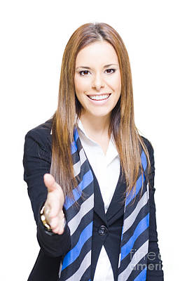 Business Woman Shaking Hands Over A Business Deal Poster