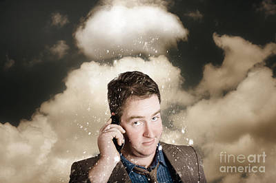 Businessman Having Bad Day. Communication Trouble Poster