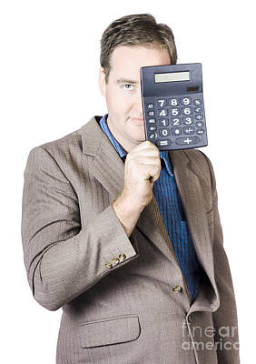 Businessman Holding Calculator Poster by Jorgo Photography - Wall Art Gallery
