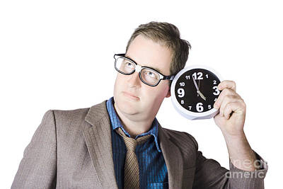 Businessman Holding Clock Near Ear Poster