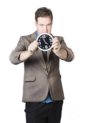 Businessman Holding Clock Poster