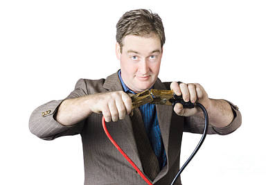 Businessman Holding Jumper Cables Poster by Jorgo Photography - Wall Art Gallery