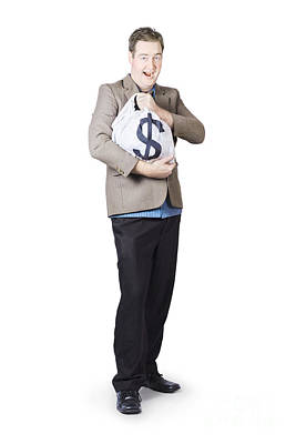 Businessman Holding Moneybag Poster by Jorgo Photography - Wall Art Gallery