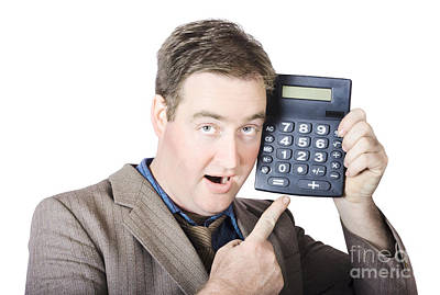 Businessman Pointing At Calculator Poster